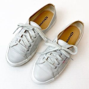 Superga gray leather upper sneakers 7.5